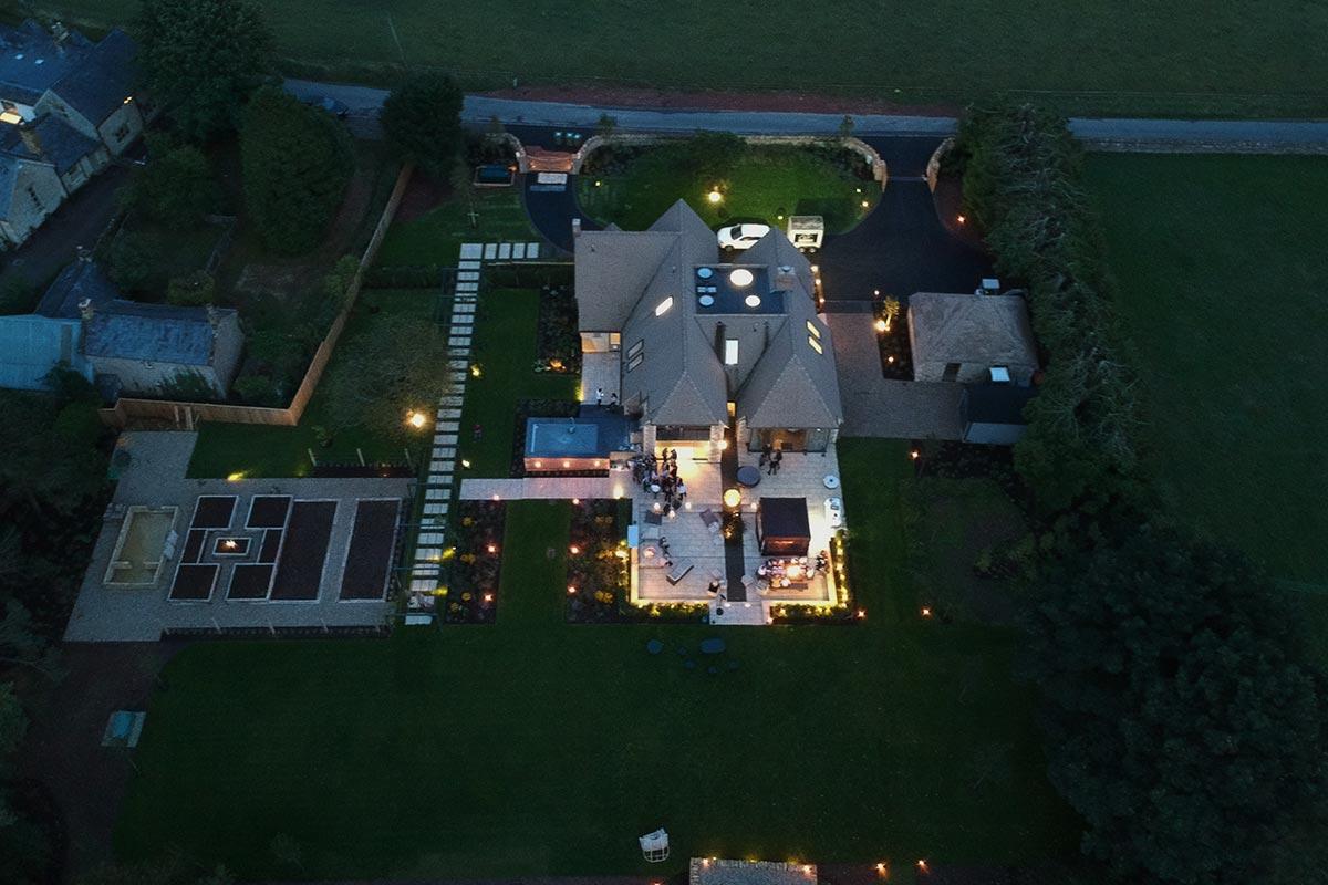 New build garden design aerial shot